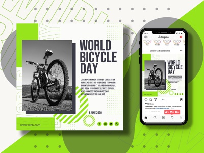 world bicycle day special social media post banner template brand identity ui logo happy day special day becycle becycle day social media banner post banner post social media design branding illustration banner ads banner aurtho graphic design