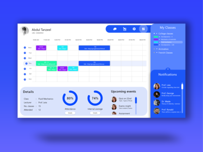 Classroom dashboard xd design webapp productivity product design
