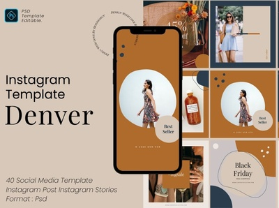 Denver Instagram Template Pack fashion professional elegant modern design digital art branding social media template social media pack social media posts stories instagram post template instagram story template instagram templates instagram banner instagram stories instagram post instagram template instagram