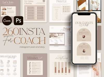 Instagram Creator For Coach CANVA PS social media templates design book e-book live talk e-course promotions promote template social media template social media pack social media posts stories instagram templates instagram banner instagram stories instagram post instagram template instagram
