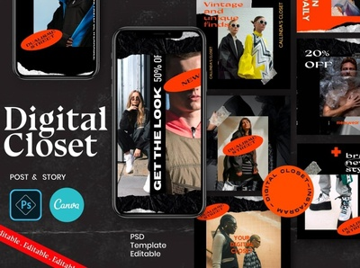 Digital Closet-PS & CANVA Instagram modern creative digital art advertising social media templates social media template social media posts stories instagram posts template instagram post template instagram banner instagram post design instagram posts instagram post instagram story template instagram stories instagram templates instagram template instagram