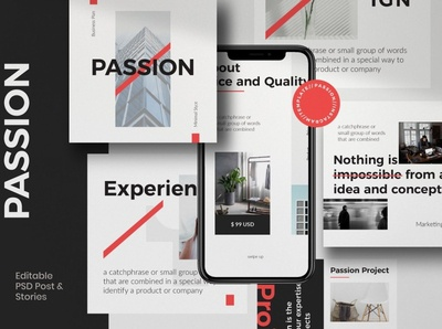 PASSION - Modern Business Instagram art blogger blog business advertising post digital art design social media templates social media pack social media template social media posts stories instagram templates instagram banner instagram stories instagram post instagram template instagram