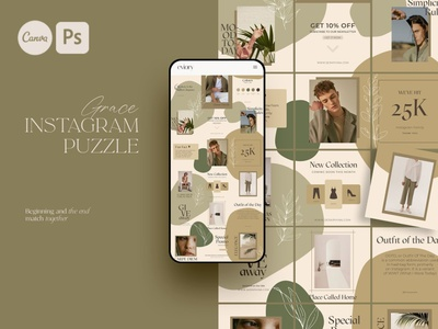 Puzzle Grace Instagram | PS CANVA social media digital art canva templates photoshop color design fashion blogger blog canva template canva grace puzzle instagram story template instagram templates instagram banner instagram stories instagram post instagram template instagram