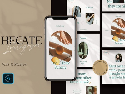 Hecate - Instagram Branding Pack design professional elegant modern minimal blogger blog story stories posts post pack branding instagram templates instagram story template instagram banner instagram template instagram stories instagram post instagram