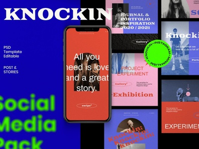KNOCKIN - New Hype Social Media professional blogger blog posts stories design instagram posts template digital art photoshop instagram posts instagram post template instagram story template instagram banner instagram stories instagram post social media template social media pack social media instagram template instagram