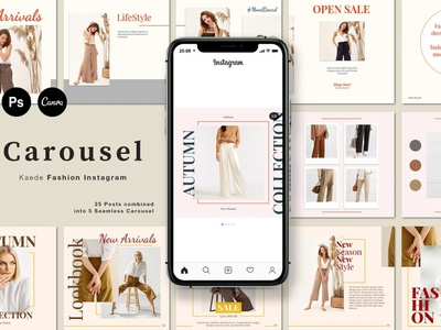 Fashion Carousel Instagram | Kaede art professional elegant modern minimal blogger blog posts post social media templates instagram posts instagram post instagram story template instagram templates instagram template fashion carousel template fashion template fashion social media template social media