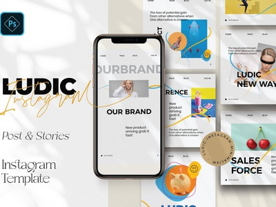 LUDIC - Minimalism Instagram Pack blogger fresh instagram post template instagram story template instagram templates social media pack posts stories social media digital art design minimalism illustration instagram banner instagram stories instagram post minimal minimalist minimalism instagram template instagram