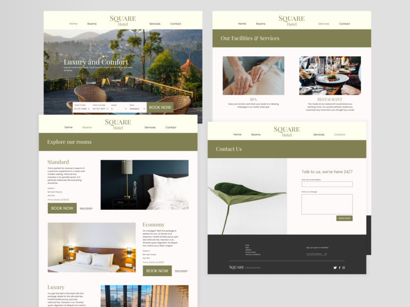 Hotel Website Design website concept website design websites website green hotel website hotel design hotel ui minimal flat design clean ui clean design clean