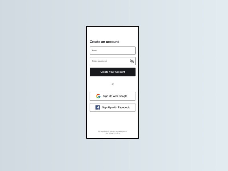 User Sign Up page dailyui 001 sign up dailyui signup material design materialdesign material ui minimal flat design clean ui clean design clean