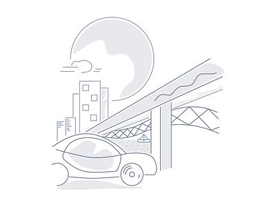 City Illustration car brand city color illustration