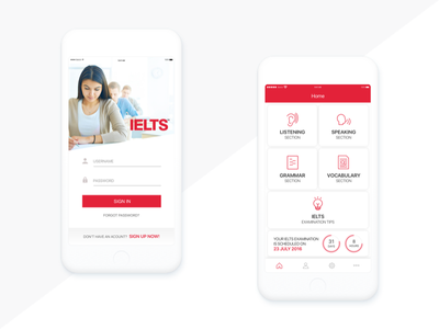 IELTS username sign up password tab bar login card white iphone app mobile english ielts