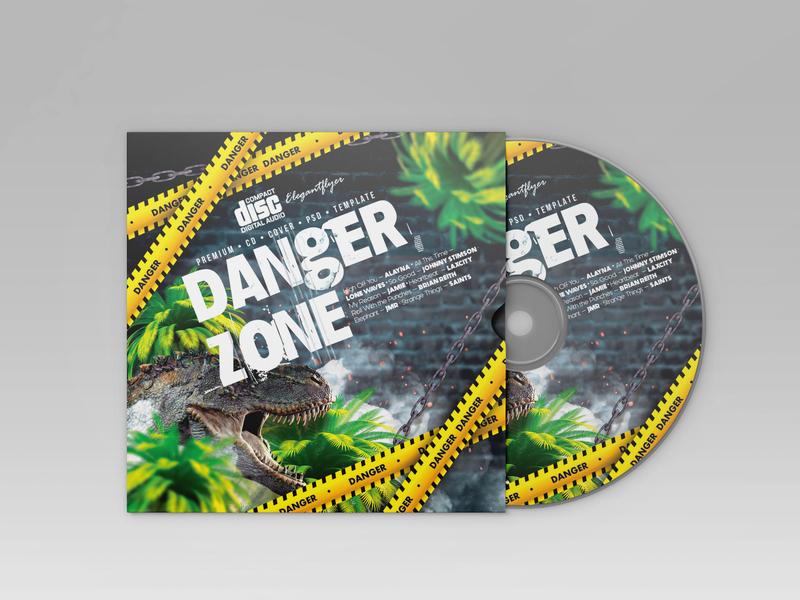 Free Danger Music CD Cover Template branding illustration compact disc music art music cd packaging cd artwork cd design cd cover cd design psd template free psd templates free psd