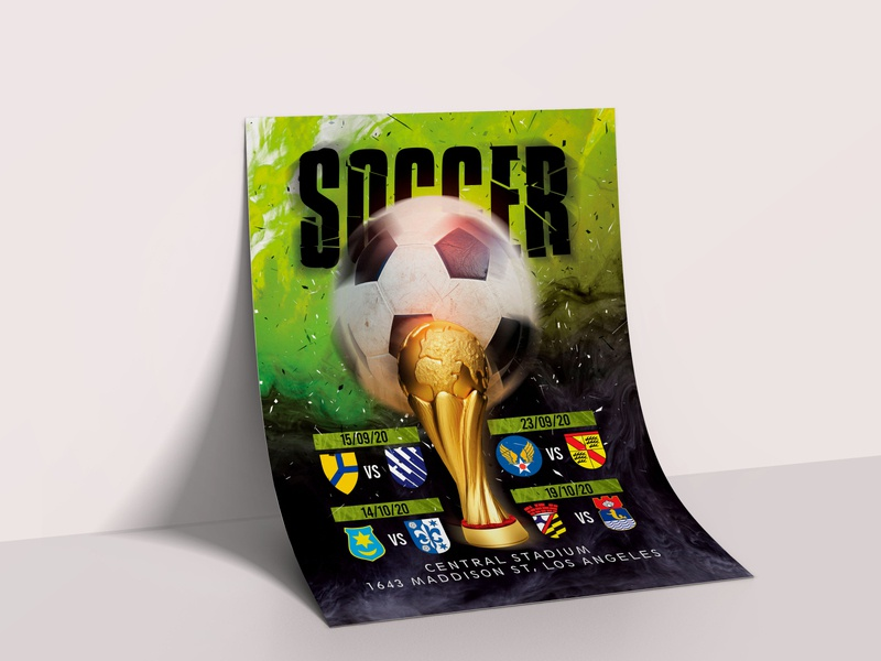 Free soccer flyer template in PSD sport event sports sport game night competition soccer game football soccer flyer template flyer artwork flyer design flyers flyer invite event design psd template free psd templates free psd