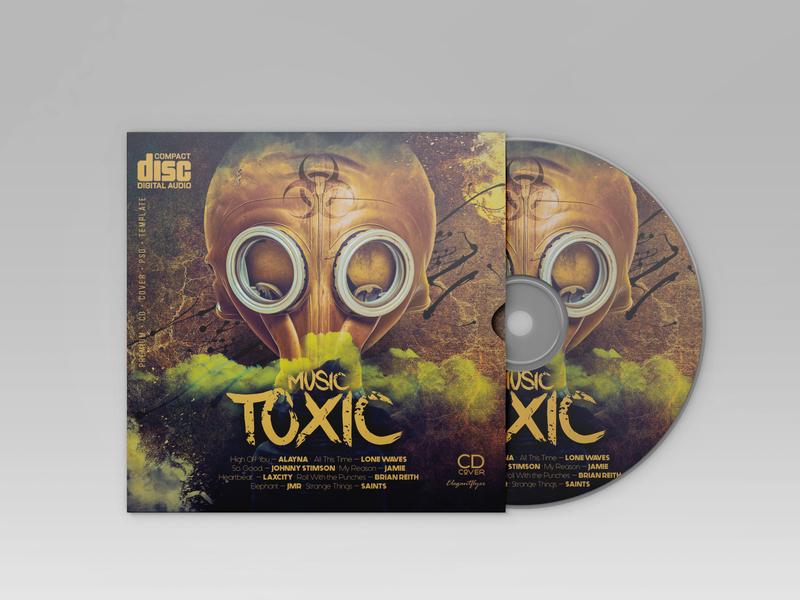 Free CD Cover Template Danger Music compact disc music art music toxic danger cd artwork cd packaging cd design cd cover cd illustration design psd template free psd templates free psd