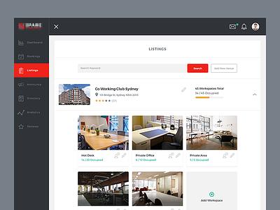 Listings dashboard workspace branding start up ux ui app web