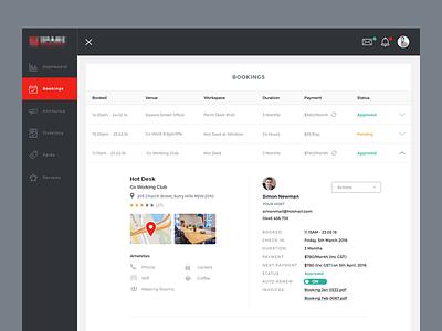 Bookings interface workspace start up app web ux ui dashboard bookings