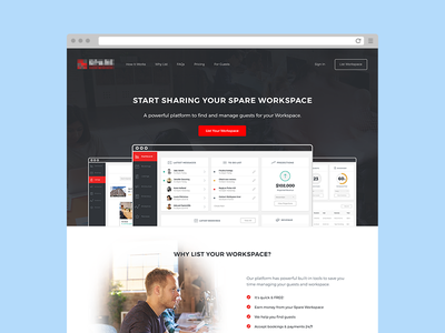 Host Landing office work start up workspace web ux ui product app landing