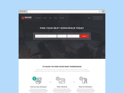Guest Landing search office work start up workspace web ux ui product app landing