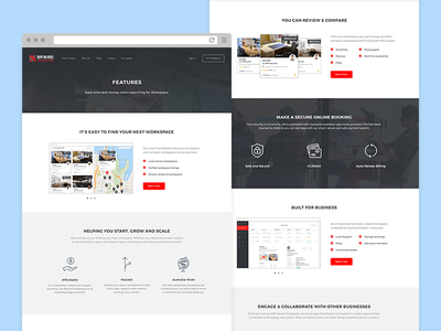 Features features office start up workspace web ux ui product app landing