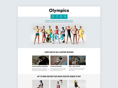 Olympics Page telco web optus athletes ui brazil 2016 landing olympics