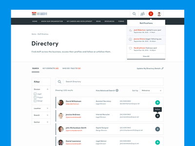 Staff Directory search list dashboard web product ux ui intranet
