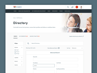 Staff Directory product dashboard staff directory search ux ui web