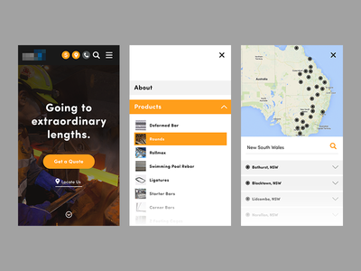 Mobile Screens search map building web ux ui mobile construction