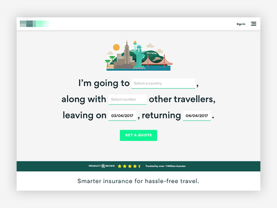 Travel Insurance Quote iteration landing travel insurance quote branding ux ui