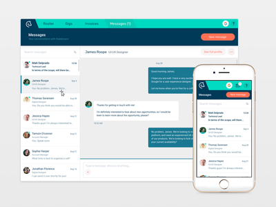 Messages ux ui app product dashboard inbox messenger messages