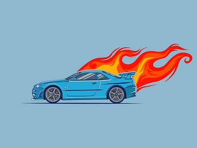 Car on Fire branding vectors vector illustration vector vectorart design illustration art illustration car 3d car illustration car vector car