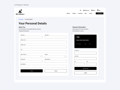 E-Commerce Account Settings branding product design dailyuichallenge design web daily 100 challenge dailyui