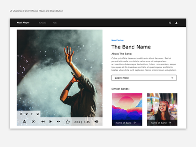 Music Player Web Browser and Share Button ux web dailyuichallenge product design
