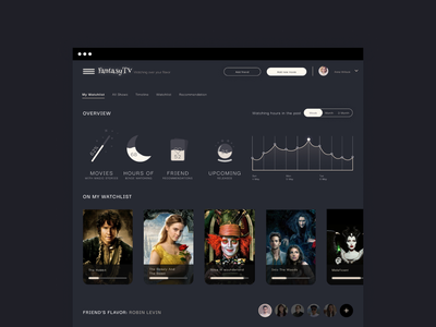 FantasyTV 🌚 dashboard ui dashboard dark fantasy ui design ui design