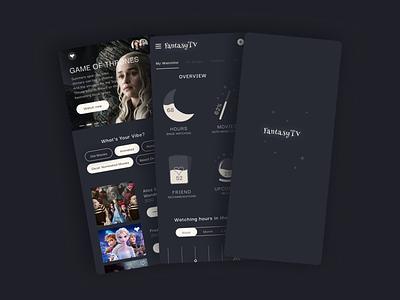 FantasyTV 🌚 fantasy dashboard dark app ui ui design design