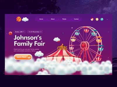 Traveling Fair cloud neumorphic website colors story typography motion fairy fair festival circus animation web illustration ui