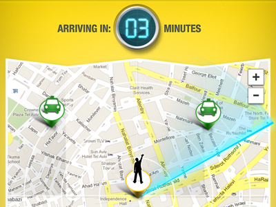 Find the closest taxi iphone ui map counter location taxi pin