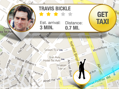 Want this taxi driver? :) iphone ui map counter location taxi pin