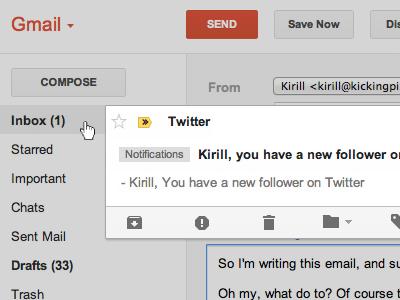 Tiny Gmail improvement gmail email notification app interface improvement