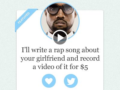 Kanye's gig user profile interface kanye west like twitter