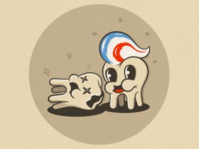 Happy & dead tooth cartoon texture illustration vintage retro tooth cartoon vector