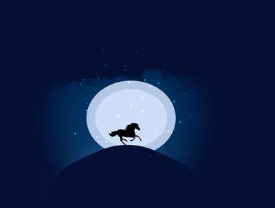 horse scene illustrator animation photoshop flat illustration vector art web logo design
