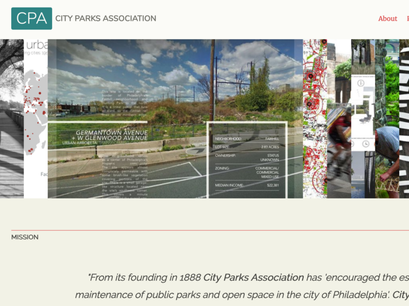 City Parks Association Website wagtail django typography ux ui design