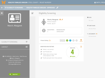 SCREENING REVIEW & ASSIGNMENT / ENGAGEMENT / ENROLLMENT ux design web app design ui