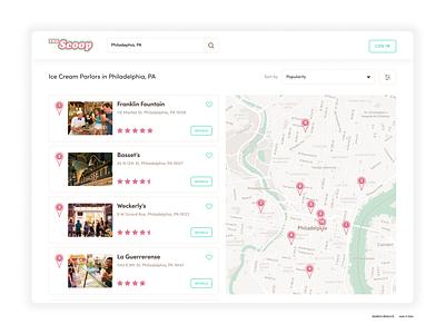 The Scoop location search branding website webdesign mapping web app design logo graphic design ux ui