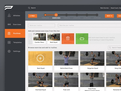 Portal - Exercise Select toronto dashboard list grid view ui graphic design menu web portal template