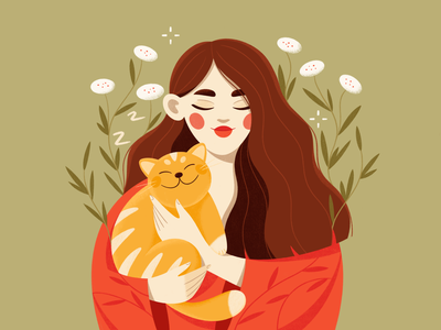 Girl and ginger cat flowers procreate vector character design green red meditation cat ginger girl illustrator illustration character