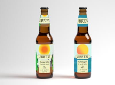 Beer Ubrew branding illustration logo ui packaging mockup graphicart packaging branding design beer bottle beer label