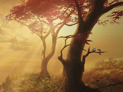 Dawn sunset sunrise dawn dusk birds trees illustration environment nature storybook concept art digital art