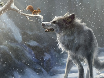 A Winter Tale winter wolf wolves company of wolves marie beschorner squirrel snow forest illustration digital painting
