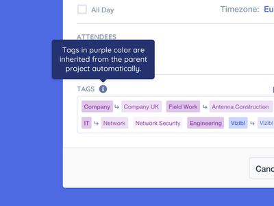 Vizibl Automated Tags vizibl automated tag popup modal tooltip tagline purple blue inherited event web picker